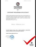 certifikát ověřená společnost